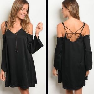 Little Black Dress Cold Shoulder Crisscross Back